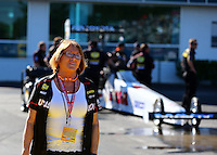 Mar 14, 2014; Gainesville, FL, USA; Charlotte Lucas , wife of Lucas Oil owner Forrest Lucas (not pictured) and mother of Morgan Lucas during qualifying for the Gatornationals at Gainesville Raceway Mandatory Credit: Mark J. Rebilas-USA TODAY Sports