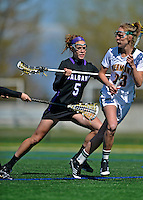 28 April 2012: University at Albany Great Dame midfielder/defender Erin Monna, a Freshman from Webster, NY, in action against the University of Vermont Catamounts at Virtue Field in Burlington, Vermont. The Lady Danes defeated the Lady Cats 12-10 in America East Women's Lacrosse. Mandatory Credit: Ed Wolfstein Photo