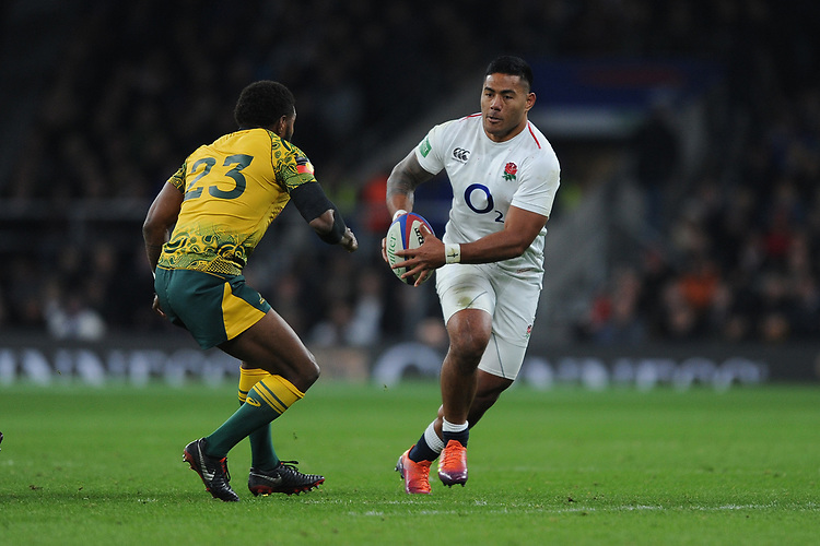Manu Tuilagi of England challenges Marika Koroibete of Australia during the Quilter International match between England and Australia at Twickenham Stadium on Saturday 24th November 2018 (Photo by Rob Munro/Stewart Communications)