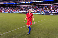 PHILADELPHIA, PA - AUGUST 29: Julie Ertz #8 of the United States walks the field during a game between Portugal and the USWNT at Lincoln Financial Field on August 29, 2019 in Philadelphia, PA.