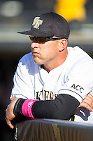 Wake Forest Demon Deacons assistant coach Bill Cilento (37) prior to the game against the Duke Blue Devils at Wake Forest Baseball Park on April 25, 2014 in Winston-Salem, North Carolina.  The Blue Devils defeated the Demon Deacons 5-2.  (Brian Westerholt/Four Seam Images)