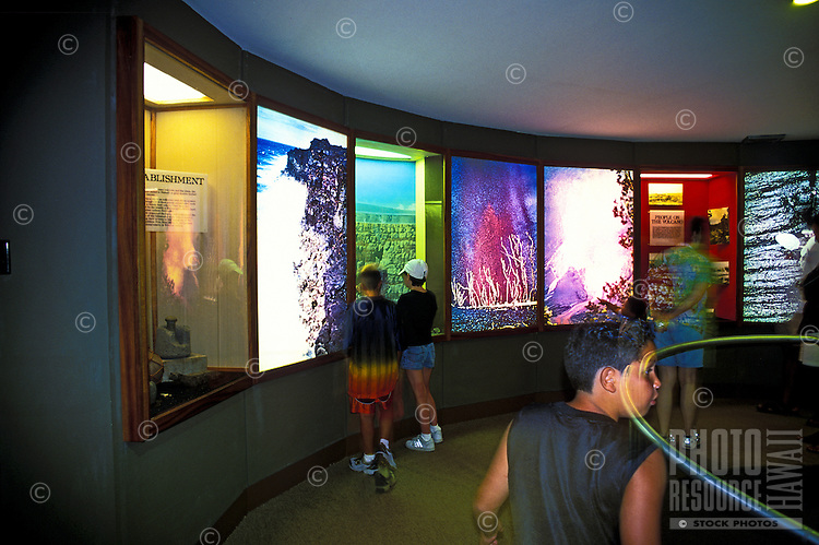 The Kilauea Visitors Center located in the Volcanoes National Park on the Big Island of Hawaii near the rim of Kilauea Volcano.