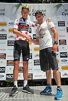 James Oram with motorcycling legend Aaron Slight (Mitre 10 / KOM Sponsor) after stage three of the NZ Cycle Classic UCI Oceania Tour in Wairarapa, New Zealand on Tuesday, 24 January 2017. Photo: Dave Lintott / lintottphoto.co.nz