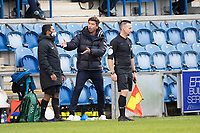 Harry Kewell, Manager of Oldham Athletic, unhappy and expresses a point to the fourth official during Colchester United vs Oldham Athletic, Sky Bet EFL League 2 Football at the JobServe Community Stadium on 3rd October 2020