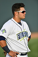 Catcher Brandon Brosher (25) of the Columbia Fireflies before a game against the Lexington Legends on Saturday, April 22, 2017, at Spirit Communications Park in Columbia, South Carolina. Lexington won, 4-0. (Tom Priddy/Four Seam Images)