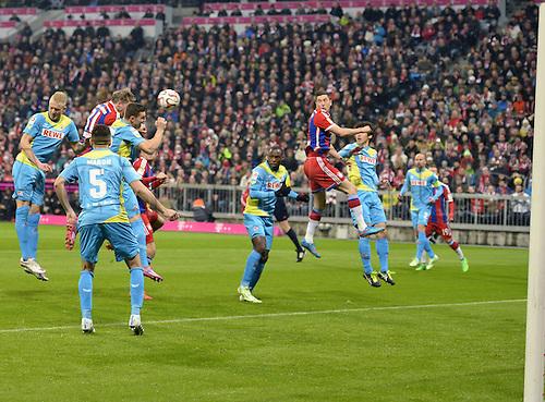 27.02.2015. Allianz Arena, Munich, Germany. Bundesliga football league. Bayern Munich versus FC Cologne.  Bastian Schweinsteiger (Munich) scores for 1:0