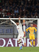 Football, Serie A: AS Roma - AC Milan, Olympic stadium, Rome, October 27, 2019. <br /> Milan's Theo Hernandez celebrates after scoring during the Italian Serie A football match between Roma and Milan at Olympic stadium in Rome, on October 27, 2019. <br /> UPDATE IMAGES PRESS/Isabella Bonotto