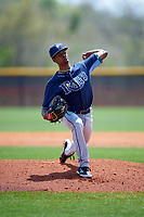 Tampa Bay Rays Genesis Cabrera (20) during a minor league Spring Training game against the Boston Red Sox on March 23, 2016 at Charlotte Sports Park in Port Charlotte, Florida.  (Mike Janes/Four Seam Images)