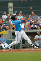 Myrtle Beach Pelicans infielder Wladmir Galindo (44) at bat during a game against the Winston-Salem Dash at Ticketreturn.com Field at Pelicans Ballpark on July 23, 2018 in Myrtle Beach, South Carolina. Winston-Salem defeated Myrtle Beach 6-1. (Robert Gurganus/Four Seam Images)