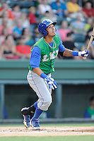 Shortstop Humberto Arteaga (1) of the Lexington Legends bats in a game against the Greenville Drive on Friday, August 29, 2014, at Fluor Field at the West End in Greenville, South Carolina. Greenville won, 6-1. (Tom Priddy/Four Seam Images)