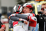 Jasper Philipsen (BEL) UAE Team Emirates wins Stage 15 of the Vuelta Espana 2020, here celebrating with team mate Ivo Oliveira (POR), running 230.8km from Mos to Puebla de Sanabria, Spain. 5th November 2020. <br /> Picture: Luis Angel Gomez/PhotoSportGomez | Cyclefile<br /> <br /> All photos usage must carry mandatory copyright credit (© Cyclefile | Luis Angel Gomez/PhotoSportGomez)