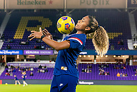 ORLANDO, FL - JANUARY 18: Catarina Macario #29 of the USWNT controls the ball during warm ups before a game between Colombia and USWNT at Exploria Stadium on January 18, 2021 in Orlando, Florida.