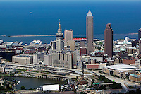 aerial photograph of downtown Cleveland, Public Square, Lake Erie, Cuyahoga river, Cleveland, Ohio