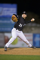 Kannapolis Intimidators relief pitcher Alex Katz (25) in action against the Hickory Crawdads at Kannapolis Intimidators Stadium on April 8, 2016 in Kannapolis, North Carolina.  The Crawdads defeated the Intimidators 8-2.  (Brian Westerholt/Four Seam Images)