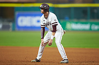 Tanner Poole (12) of the Mississippi State Bulldogs takes his lead off of first base against the Houston Cougars in game six of the 2018 Shriners Hospitals for Children College Classic at Minute Maid Park on March 3, 2018 in Houston, Texas. The Bulldogs defeated the Cougars 3-2 in 12 innings. (Brian Westerholt/Four Seam Images)
