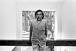 Oaxacan artist Francisco Toledo poses for a photograph prior to the inauguration of his exhibit Shadows of the Desire at the Galeria Juan Martin in Mexico city, October 3, 2000. Photo by Heriberto Rodriguez