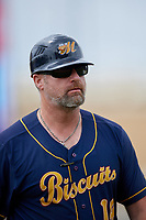 Montgomery Biscuits manager Morgan Ensberg (14) during a Southern League game against the Biloxi Shuckers on May 8, 2019 at MGM Park in Biloxi, Mississippi.  Biloxi defeated Montgomery 4-2.  (Mike Janes/Four Seam Images)