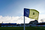 A club badge on the corner flag at the Look Local Stadium. Stocksbridge Park Steels v Pickering Town,  Evo-Stik East Division, 17th November 2018. Stocksbridge Park Steels were born from the works team of the local British Steel plant that dominates the town north of Sheffield.<br /> Having missed out on promotion via the play offs in the previous season, Stocksbridge were hovering above the relegation zone in Northern Premier League Division One East, as they lost 0-2 to Pickering Town. Stocksbridge finished the season in 13th place.