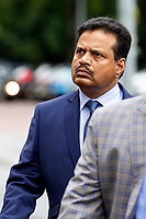Pictured: Khitish Mohanty arrives at Cardiff Crown Court, Cardiff, Wales, UK. Monday 07 October 2019<br /> Re: Orthopaedic surgeon Khitish Mohanty, has been cleared of two sex offence charges involving a patient at a private hospital, by a jury at Cardiff Crown Court, Wales, UK. (02 Nov 2020)<br /> Mohanty, 52, denied attacking a 20-year-old when he was examining her at Bupa hospital in Cardiff, after a serious car crash in 2005.<br /> A jury was told a criminal investigation started in 2017 after the complainant, now in her mid-30s, contacted police.