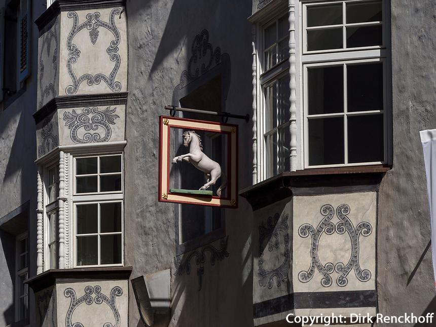 Fassade in Fußgängerzone in Brixen, Region Südtirol-Bozeb, Italien, Europa<br /> house facadepedestrian area in Brixen, Region South Tyrol-Bolzano, Italy, Europe