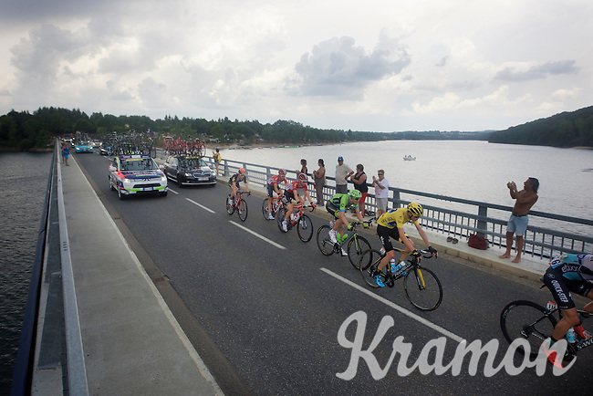 yellow jersey Chris Froome (GBR/SKY) over the bridge of the Lac de Pareloup<br /> <br /> stage 14: Rodez - Mende (178km)<br /> 2015 Tour de France