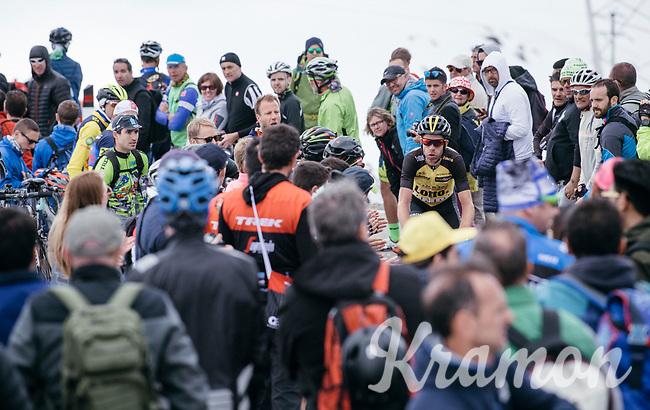 Bram Tankink (NED/LottoNL-Jumbo) making his way up the Passo dello Stelvio (alt: 2758m) between the fans<br /> <br /> Stage 16: Rovett › Bormio (222km)<br /> 100th Giro d'Italia 2017