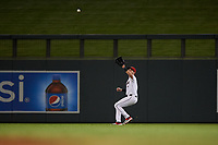 Scottsdale Scorpions center fielder Logan Warmoth (1), of the Toronto Blue Jays organization, prepares to catch a fly ball during an Arizona Fall League game against the Glendale Desert Dogs on September 20, 2019 at Salt River Fields at Talking Stick in Scottsdale, Arizona. Scottsdale defeated Glendale 3-2. (Zachary Lucy/Four Seam Images)