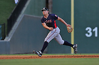 Third baseman Austin Riley (13) of the Rome Braves plays defense in a game against the Greenville Drive on Wednesday, August 31, 2016, at Fluor Field at the West End in Greenville, South Carolina. Rome won, 9-1. (Tom Priddy/Four Seam Images)