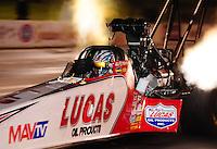 May 20, 2011; Topeka, KS, USA: NHRA top fuel dragster driver Shawn Langdon during qualifying for the Summer Nationals at Heartland Park Topeka. Mandatory Credit: Mark J. Rebilas-