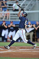 Left fielder Jared James (5) of the Danville Braves bats in a game against the Johnson City Cardinals on Friday, July 1, 2016, at Legion Field at Dan Daniel Memorial Park in Danville, Virginia. Johnson City won, 1-0. (Tom Priddy/Four Seam Images)