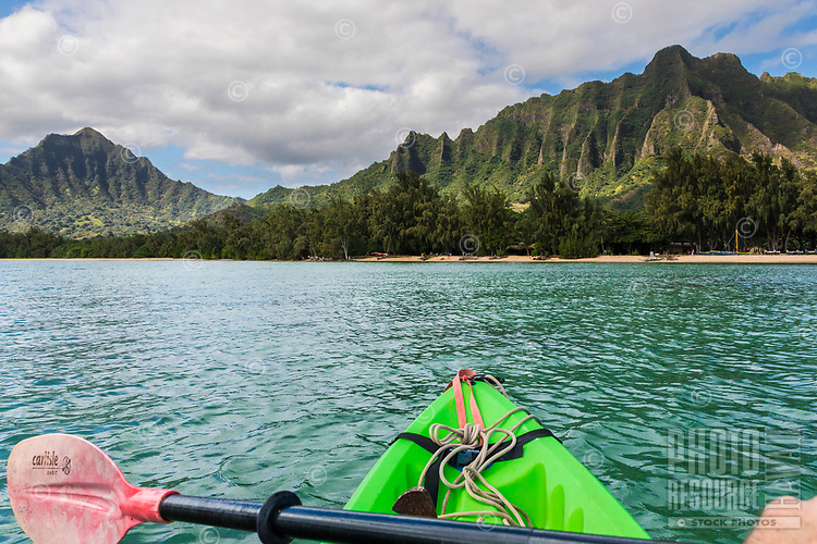 Kayaker's viewpoint of Kualoa Regional Park, Kane'ohe Bay, Windward O'ahu.