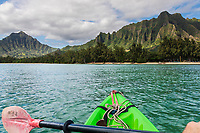 Kayaker's viewpoint of Kualoa Regional Park, Kane'ohe Bay, Windward O'ahu.