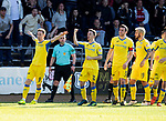 Dundee v St Johnstone…21.04.18…  Dens Park    SPFL<br />Steven MacLean celebrates his goal<br />Picture by Graeme Hart. <br />Copyright Perthshire Picture Agency<br />Tel: 01738 623350  Mobile: 07990 594431