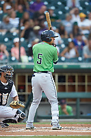 Rafael Ortega (5) of the Gwinnett Braves at bat against the Charlotte Knights at BB&T BallPark on July 12, 2019 in Charlotte, North Carolina. The Stripers defeated the Knights 9-3. (Brian Westerholt/Four Seam Images)