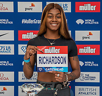 22nd May 2021; Hilton Hotel, Gateshead, England;  Diamond League Muller Athletics Grand Prix Gateshead press conference; Sha' Carri Richardson at the press conference