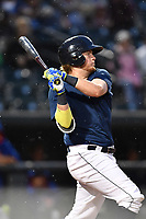 First baseman Dash Winningham (34) of the Columbia Fireflies during batting practice before a game against the Lakewood BlueClaws on Saturday, May 6, 2017, at Spirit Communications Park in Columbia, South Carolina. Lakewood won, 1-0 with a no-hitter. (Tom Priddy/Four Seam Images)