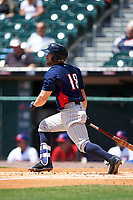 Toledo Mudhens Tyler Collins (18) bats during a game against the Buffalo Bisons on May 18, 2016 at Coca-Cola Field in Buffalo, New York.  Buffalo defeated Toledo 7-5.  (Mike Janes/Four Seam Images)