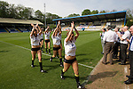 FC Halifax Town 1 Mickleover Sports 1, 23/04/2011. The Shay, Northern Premier League. A group of cheerleaders applaud the crowd as they leave the pitch at The Shay, home of FC Halifax Town, on the day that they were presented with the Northern Premier League Premier Division championship trophy following their match with Mickleover Sports. The club replaced Halifax Town A.F.C. who went into administration during the 2007–08 season, having previously been members of the Football League for 80 years. Their promotion meant they would play in Conference North in the 2011-12 season. Photo by Colin McPherson.