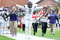 TCU quarterback Trevone Boykin (2) celebrates a kick return touchdown by teammate tackle B.J. Catalon (23) during an NCAA football game, Saturday, October 11, 2014 in Waco, Tex. Baylor defeated TCU 61-58 to remain undefeated in BIG 12 conference. (Mo Khursheed/TFV Media via AP Images)