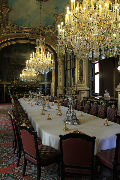 Napoleon's furniture exhibit in the Louvre Museum in Paris, France.