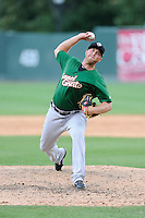 Pitcher Tim Peterson (36) of the Savannah Sand Gnats, delivers a pitch in a game against the Greenville Drive on Sunday, July 5, 2015, at Fluor Field at the West End in Greenville, South Carolina. Savannah won, 8-6. (Tom Priddy/Four Seam Images)