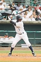 Charleston RiverDogs shortstop Jorge Mateo (2) at bat during a game against the Augusta GreenJackets at Joseph P.Riley Jr. Ballpark on April 15, 2015 in Charleston, South Carolina. Charleston defeated Augusta 8-0. (Robert Gurganus/Four Seam Images)