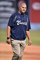 Asheville Tourists trainer Casey Papas during a game against the Greensboro Grasshoppers at McCormick Field on April 28, 2017 in Asheville, North Carolina. The Grasshoppers defeated the Tourists 7-4. (Tony Farlow/Four Seam Images)
