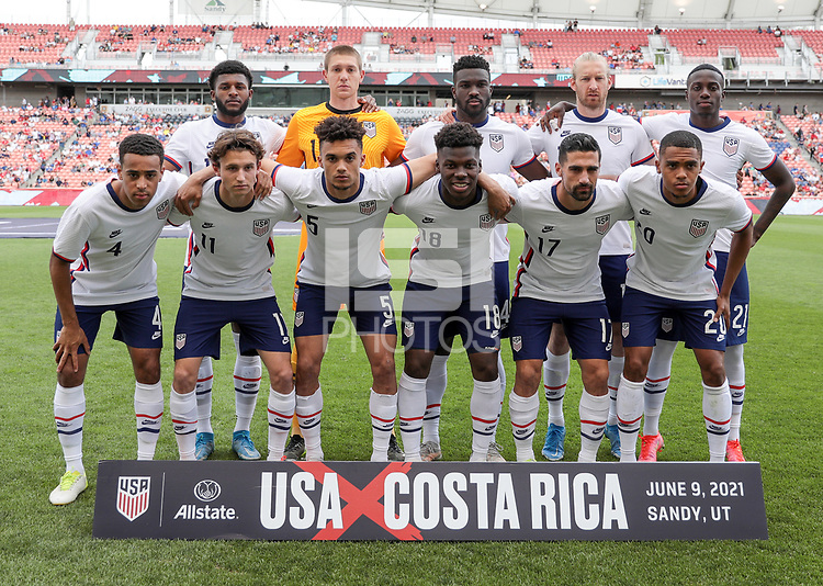 SANDY, UT - JUNE 10: USMNT starting eleven during a game between Costa Rica and USMNT at Rio Tinto Stadium on June 10, 2021 in Sandy, Utah.