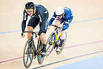 Edward Dawkins of the New Zealand team and Sebastien Vigier of the France team compete in the Men's Sprint - 1/8 Finals as part of the Men's Sprint - 1/8 Finals as part of the 2017 UCI Track Cycling World Championships on 14 April 2017, in Hong Kong Velodrome, Hong Kong, China. Photo by Marcio Rodrigo Machado / Power Sport Images