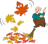 Stock Vector illustration of an angry grandpa sweeping away the autumn leaves with broom, and funny and scared looking autumn leaves blowing away.<br /> <br /> This image is also available as scalable EPS and PNG format(with transparent background).