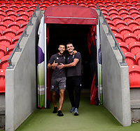 Lincoln City's Jorge Grant, left, and Lincoln City's Harry Toffolo arrive at the ground prior to the game<br /> <br /> Photographer Chris Vaughan/CameraSport<br /> <br /> EFL Leasing.com Trophy - Northern Section - Group H - Doncaster Rovers v Lincoln City - Tuesday 3rd September 2019 - Keepmoat Stadium - Doncaster<br />  <br /> World Copyright © 2018 CameraSport. All rights reserved. 43 Linden Ave. Countesthorpe. Leicester. England. LE8 5PG - Tel: +44 (0) 116 277 4147 - admin@camerasport.com - www.camerasport.com