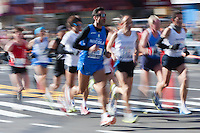 NEW YORK - NOVEMBER 7: Blurred abstraction of runners in the 2010 New York City Marathon.