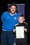 St Johnstone FC Youth Academy Presentation Night at Perth Concert Hall..21.04.14<br /> Stevie May presents to Matthew Cullerton<br /> Picture by Graeme Hart.<br /> Copyright Perthshire Picture Agency<br /> Tel: 01738 623350  Mobile: 07990 594431