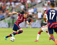 AUSTIN, TX - JULY 29: Sam Vines #3 of the United States passes the ball to a teammate during a game between Qatar and USMNT at Q2 Stadium on July 29, 2021 in Austin, Texas.